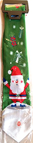 New-Santa-Claus-Light-Up-Christmas-House-Neck-Tie-Polyester-Holiday-Green-Winter