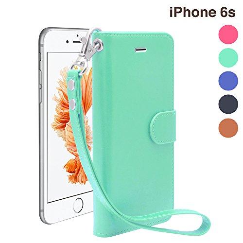 iNTAG iPhone6s 手帳型 ケース レザー ストラップ 付き ヴィンテージ アイフォン6/6s 4.7インチ 対応 カバー Vintage Leather Strap Diary Case (手帳 カバー カード収納 スタンド機能) ティファニーブルー iN-VTGSTi6-MNT