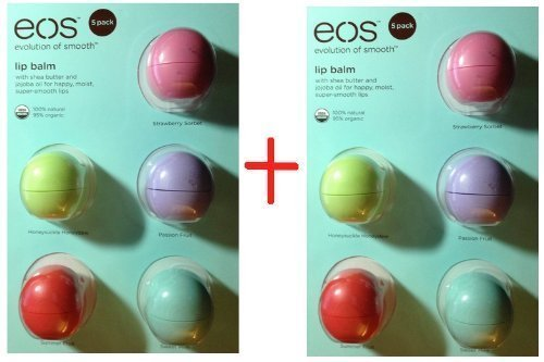 Ten 10 Eos Organic Smooth Sphere Lip Balm - 2 each Summer Fruit, Sweet Mint, Strawberry Sorbet, Passion Fruit, Honeysuckle Honeydew (2x 5 Pack)