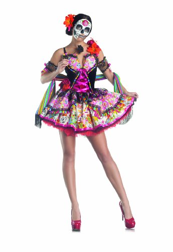 Day Of The Dead Women's Costume Set with Mask