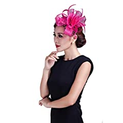 Women wedding Hot Pink fancy fascinator feather handmade hair accessories with netting