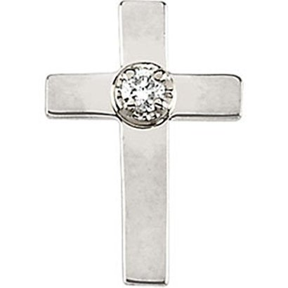 1100x0800-mm-Cross-Lapel-Pin-with-Diamond-in-14K-Yellow-Gold