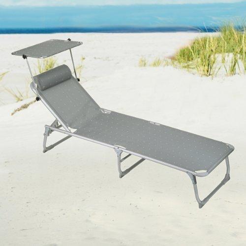 Strand- und Campingliege mit Sonnendach Tintoretto, Fb. platin