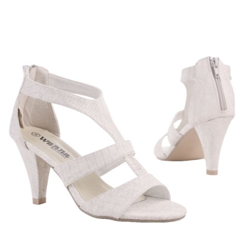 Damen Schuhe, SANDALETTEN, PUMPS, H1515, Synthetik in hochwertiger Leder Optik