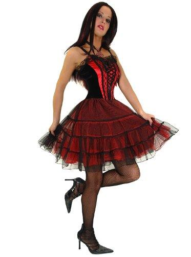 Corsagenkleid Tüllkleid Minikleid Gr. 34-36, 38-40 - 1418 Schwarz / Rot