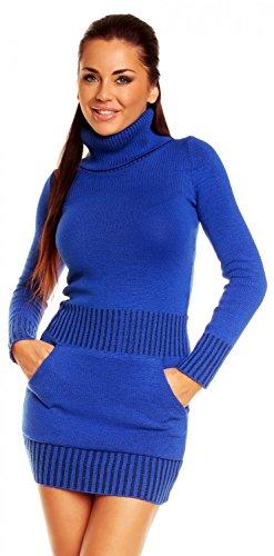 Zeta Ville – Damen Strick-kleid mit Rollkragen Minikleid Mit Tasche vorne 178z
