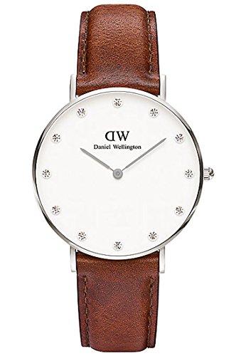 Daniel-Wellington-Damen-Armbanduhr-Analog-Quarz-One-Size-weisilber