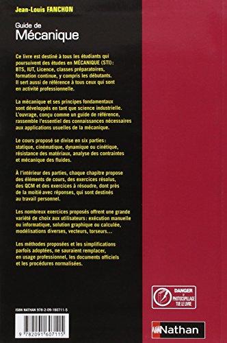 Telecharger Guide de mécanique. BTS - DUT - Licence - Classes prépas PTSI et TSI de Jean-Louis Fanchon