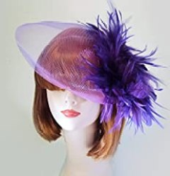 Dinner Tea Party Costume Feather Fascinator Veil Hair Clip/ Cocktail Hat --Purple