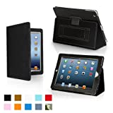 Snugg iPad 4 & iPad 3 Case - Leather Case Cover and Flip Stand with Elastic Hand Strap and Premium Nubuck Fibre Interior (Black) - Automatically Wakes and Puts the iPad 4 & 3 to Sleep.