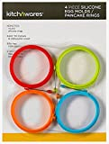 4 Inch Silicone Egg & Pancake Mold Rings- Pack of 4, One of Each Color- For Breakfast, Lunch, & Dinner; Cooks Great any Stovetop Treat; Great Cooking Accessory & Gift Idea - By Kitch N' Wares