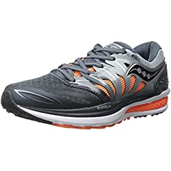 Saucony Men's Hurricane ISO 2 Running Shoe, Grey/Charcoal/Orange, 10 M US