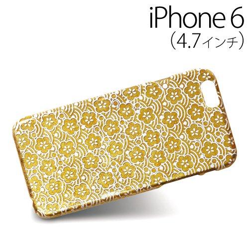 iPhone6 (4.7インチ) 専用 金沢箔スマートフォンカバー 青海波梅紋 A145-99017