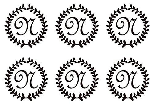 nc-smile イニシャル 英字 アルファベット デコレーション シール ステッカー フレンチ1 ブラック N