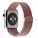 38mm Apple Watch Band Rose Gold, Mr.Pro Apple Watch Milanese Loop Band, Stainless Steel Bracelet Strap Replacement with Strong Magnet Buckle for Apple Watch Series 1 Series 2