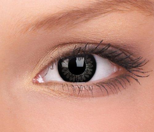 Farbige Kontaktlinsen 3-Monatslinsen & Color Contact lenses Big Eyes Schwarz / Dolly Black 1 Paar (2 Stück) ohne Stärke