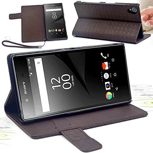 F.G.S 3点セット チョコ色 docomo Sony Xperia Z5 so-01h ケース au Sony Xperia Z5 sov32 ケース スタンド機能付き カードホルダー付き フイルムとストラップ付き 全5色 F.G.S正規代理品