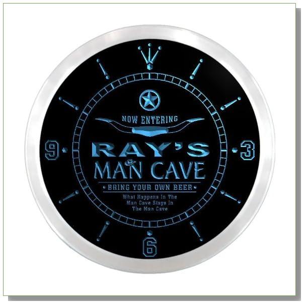 ncpb0132-b RAY'S Man Cave Cowboys Beer Bar Pub LED Neon Sign Wall Clock