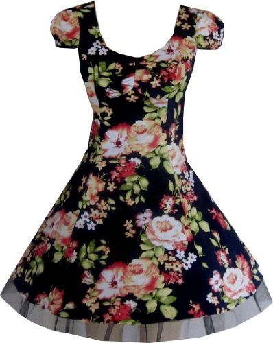 Pretty Kitty Fashion Navy Floral Abendgesellschaft Prom Mini Tea Kleid