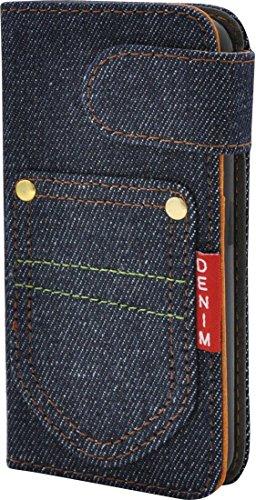 PLATA iPhone アイフォン 5 5s SE 用 デニム スタンド ケース ポーチ 手帳型 カバー iPhone5 iPhone5s iPhoneSE カジュアル ポケット IP5-5058-A