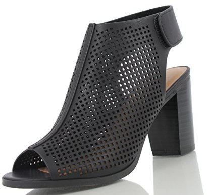 City-Classified-Womens-Roadway-Faux-Leather-Peep-Toe-Laser-Cut-Out-Slingback-Stacked-Heels-Black-9-M-US