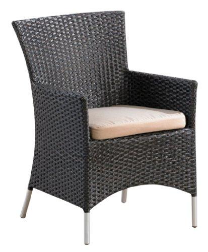 Ambientehome 63716 Sessel Tunis mit Edelstahl-Look Füßen, Polyrattan, mocca braun
