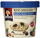 Quaker Real Medleys Oatmeal, Blueberry Hazelnut, 2.46 Ounce Cups (Pack of 12)