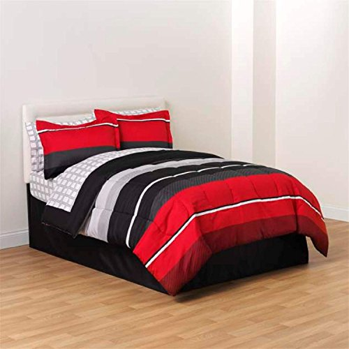 Red Black White Gray Rugby Boys Twin Comforter, Skirt and Sheet Bedding Set