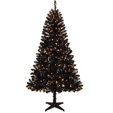 Black 6.5 Foot Pre-Lit Artificial Christmas Tree