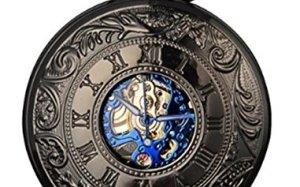 Smart.Deal Men's Antique Skeleton Roman Number Half Hunter Case Double Cover Mechanical Pocket Watch Gifts