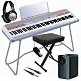 Korg SP-250WT White Digital Piano HOME BUNDLE+ w/ Subwoofer & Bench