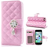 myLife Light Pink {Diamond Flower Design} Faux Leather (Card, Cash and ID Holder + Magnetic Closing) Slim Wallet for the iPhone 5C Smartphone by Apple (External Textured Synthetic Leather with Magnetic Clip + Internal Secure Snap In Hard Rubberized Bumper Holder)