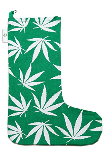 Marijuana Leaf Christmas Stocking (Green)