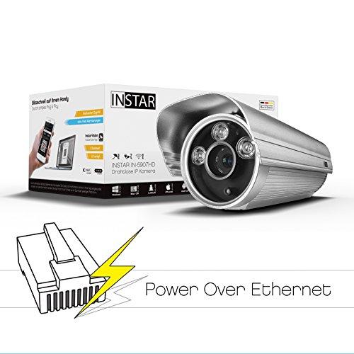 INSTAR IN-5907HD PoE IP Kamera / HD Sicherheitskamera für Außen / IP Überwachungskamera / IP cam mit LAN & PoE 802.3af für Outdoor (3 HighPower IR LEDs, Infrarot Nachtsicht, wetterfest für außen, SD Karte, Bewegungserkennung, Aufnahme, WDR) silber
