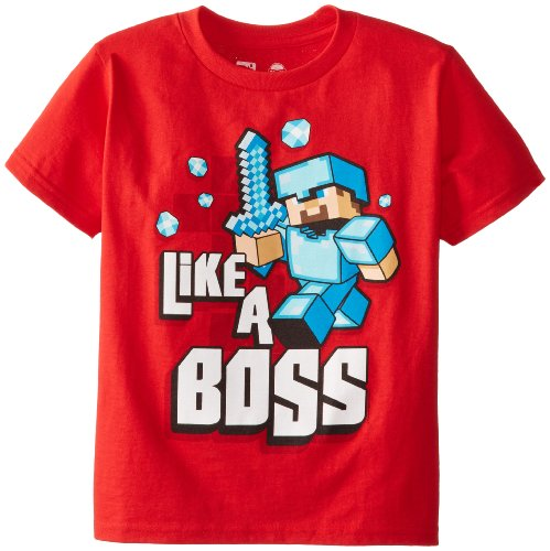 Minecraft Big Boys Like A Boss Youth Tee, Red, Medium