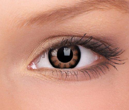 Farbige Kontaktlinsen 3-Monatslinsen & Color Contact lenses Braun / Sexy Brown 1 Paar (2 Stück) incl. 60ml Pflegemittel und Behälter!