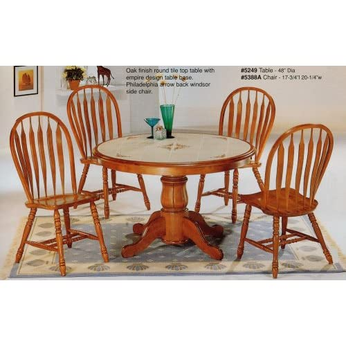 5 Piece Oak Finish Tile Top Round Table
