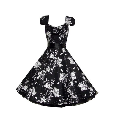 Pretty Kitty Fashion 50s Schwarz Weiß Blumen Cocktail Tee Kleid