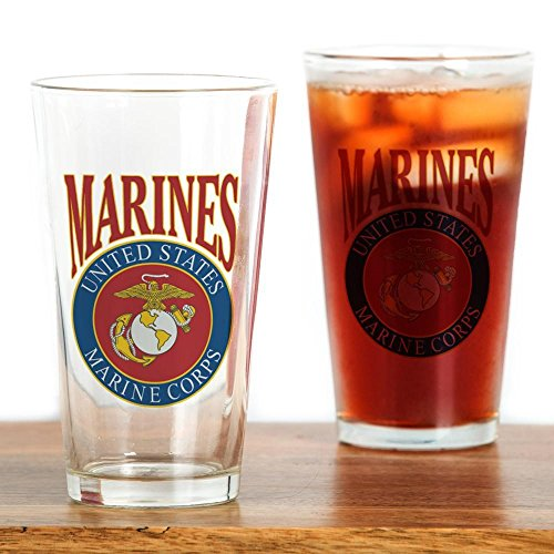 Pint Drinking Glass US Marines Marine Corps Emblem