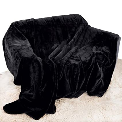 Black Mink Throw Luxury Soft Plush Extra Large (200cm x 240cm- Suitable for King Size Bed or 2/3 Seater Sofa) Sofa Bed Runner Bedspread Blanket by Quality Linen and Towels