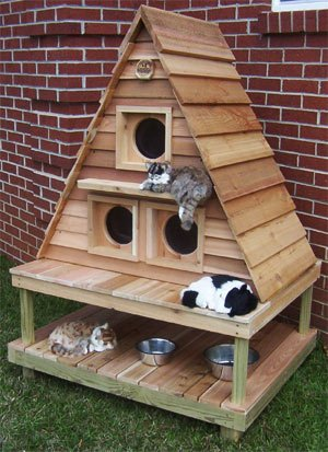 Cat Cottage Triplex with Raised Platform & Foundation : Insulation NO INSULATION : Mats 2 HEATED MATS