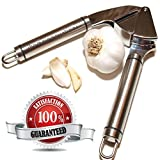 Garlic Press - Stainless Steel - Epicurean Garlic Press, Manual Garlic And Ginger Mincer Tool; Best Garlic Press Crusher For Kitchen Is Durable With Easy Clean Up - FREE Best Garlic Recipes E-Book Included