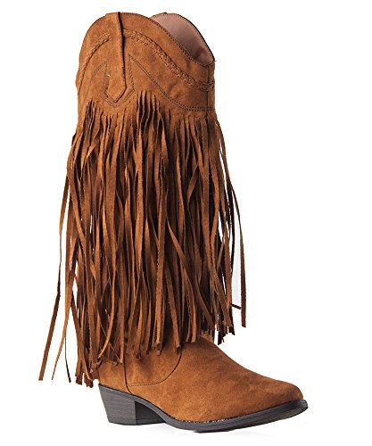 Qupid Sochi-14X Vegan Suede Fringe Slip On Stacked Low Heel Almond Toe Mid Calf Cow Boy Boots DARK RUST (8.5)