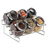 6 Jar Metal and Glass Food Spice Kitchen Storage Container Rack - MyGift