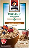 Quaker Organic Instant Oatmeal, Maple & Brown Sugar, Breakfast Cereal, 8 Packets