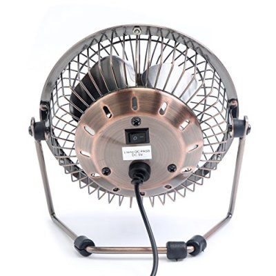 Honeyall Adjustable Desk Fan Metal Archaistic Fan Mute Personal Mini Fan Small Table Fan