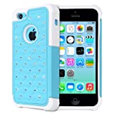Fosmon HYBO-SD Series PC + Silicone Hybrid Bumper Diamond Bling Case for Apple iPhone 5C (Sky Blue / White)