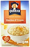 Quaker Instant Oatmeal Peaches & Cream, 10-Count Boxes (Pack of 4)
