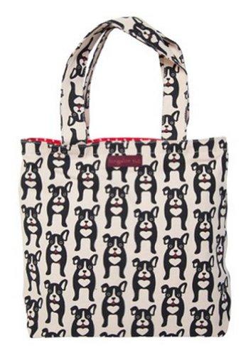 Bungalow360 Vegan Cotton Reversible Tote Bag-Boston Terrier-Black Dog Pattern