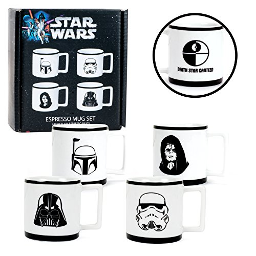 Star Wars Espresso Cups - Set of Four Mugs - Darth Vader, The Emperor, Boba Fett, Stormtrooper